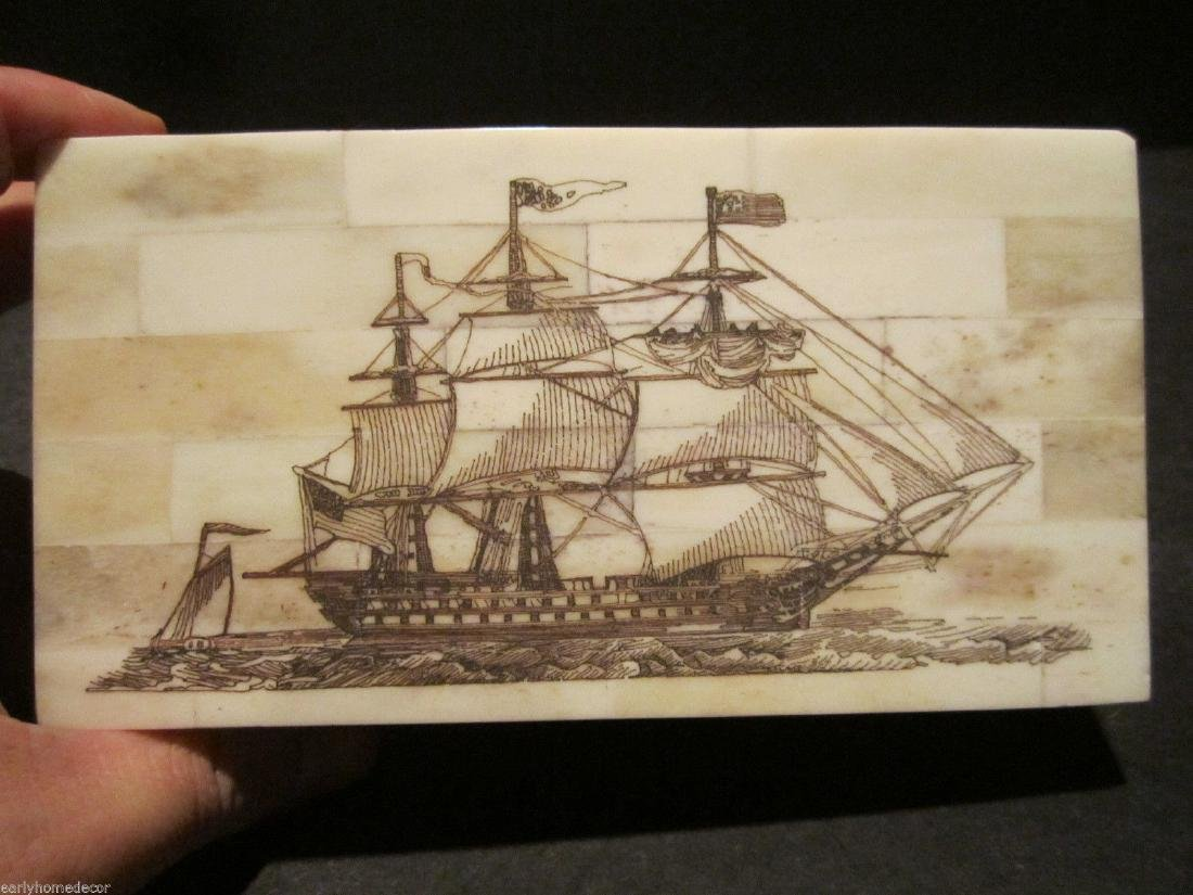 Folk Art Sail Ship Scrimshaw Etched Bone & Wood Trinket
