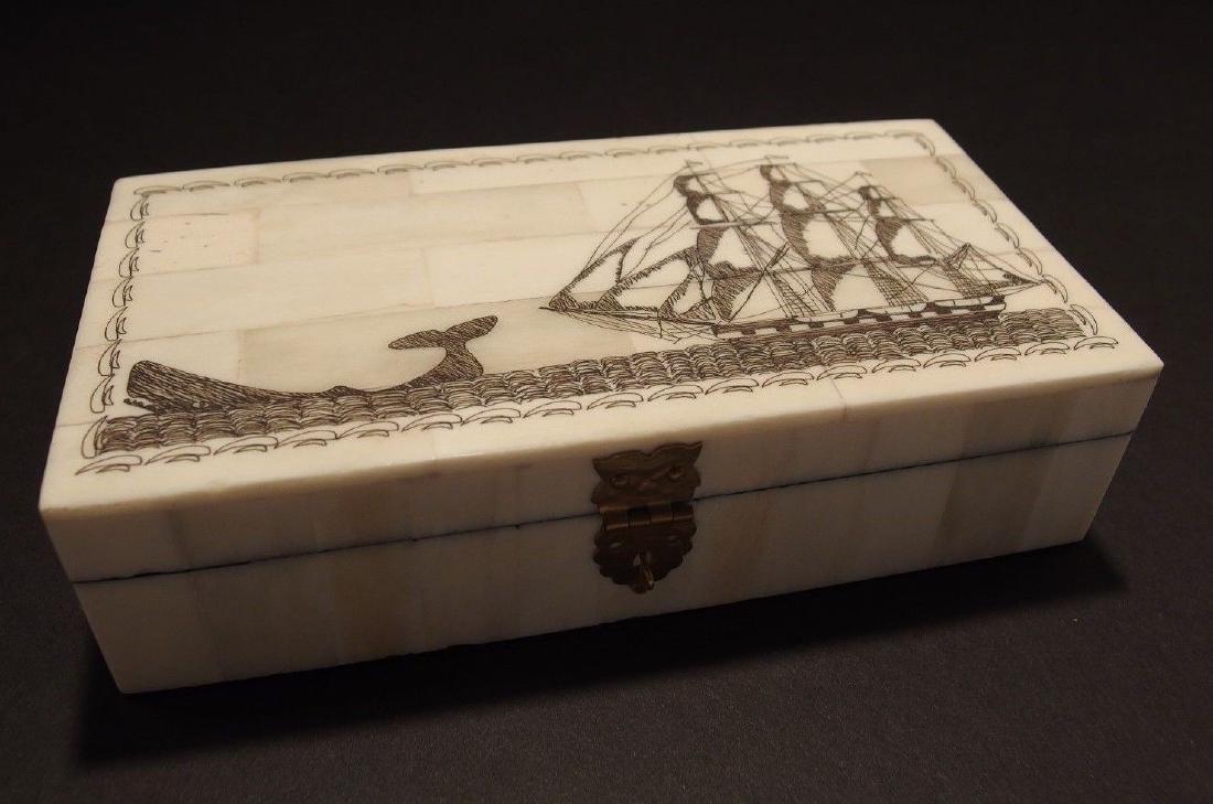 Folk Whale Chase Scrimshaw Bone & Wood Trinket Box