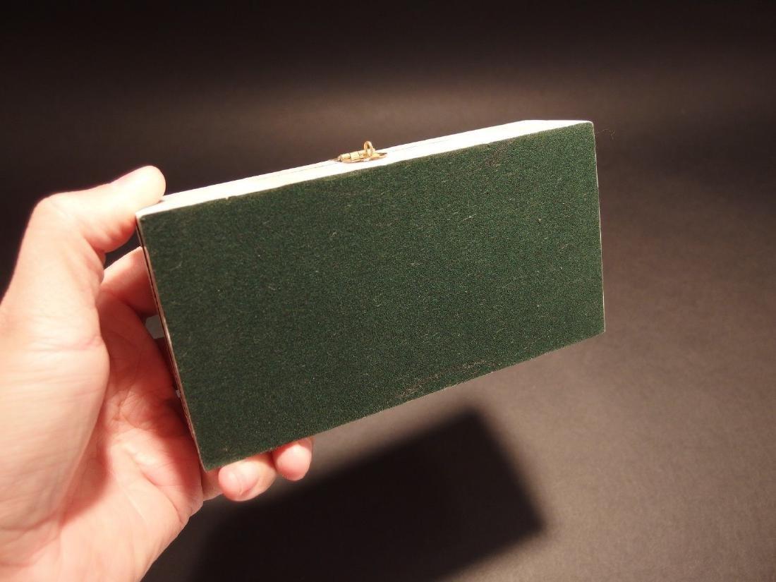 Folk Whale Chase Scrimshaw Bone & Wood Trinket Box - 2
