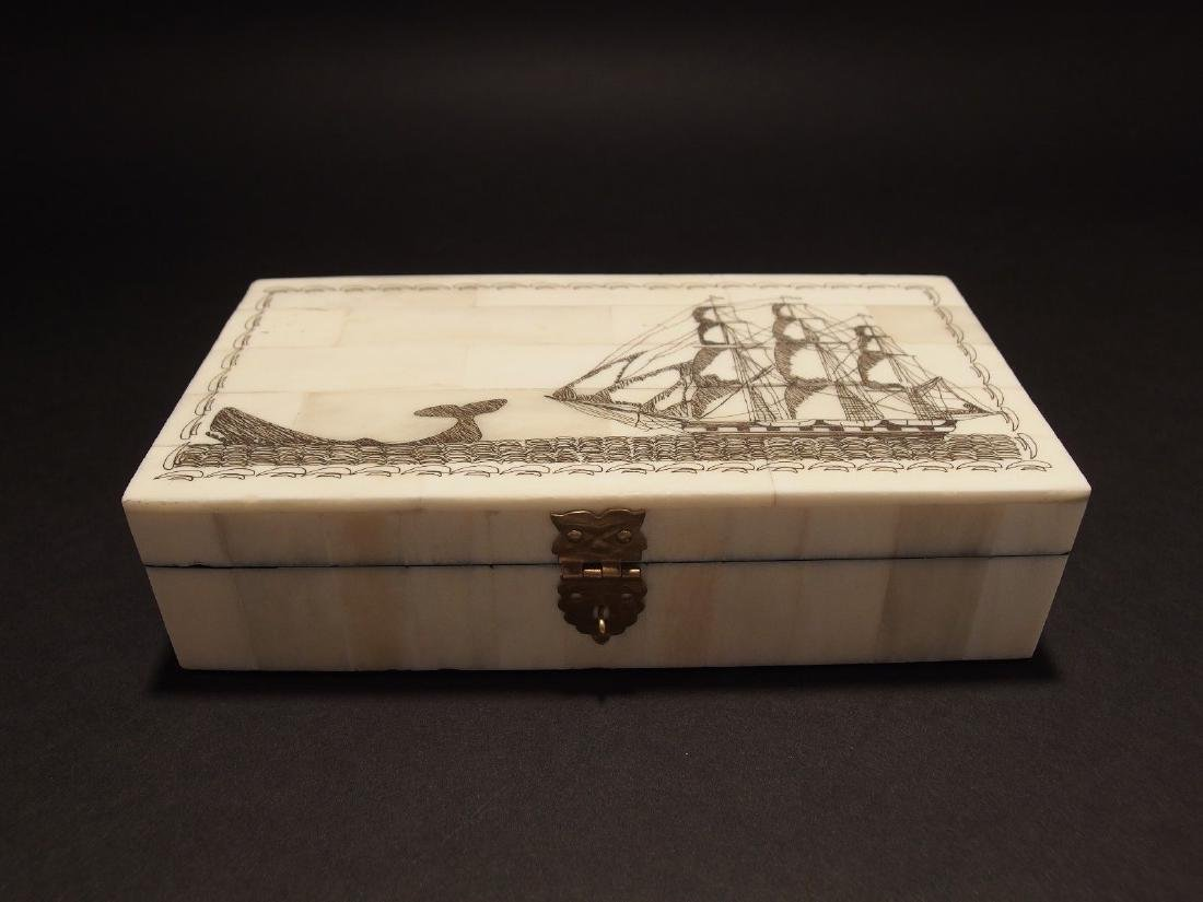 Folk Whale Chase Scrimshaw Bone & Wood Trinket Box - 3