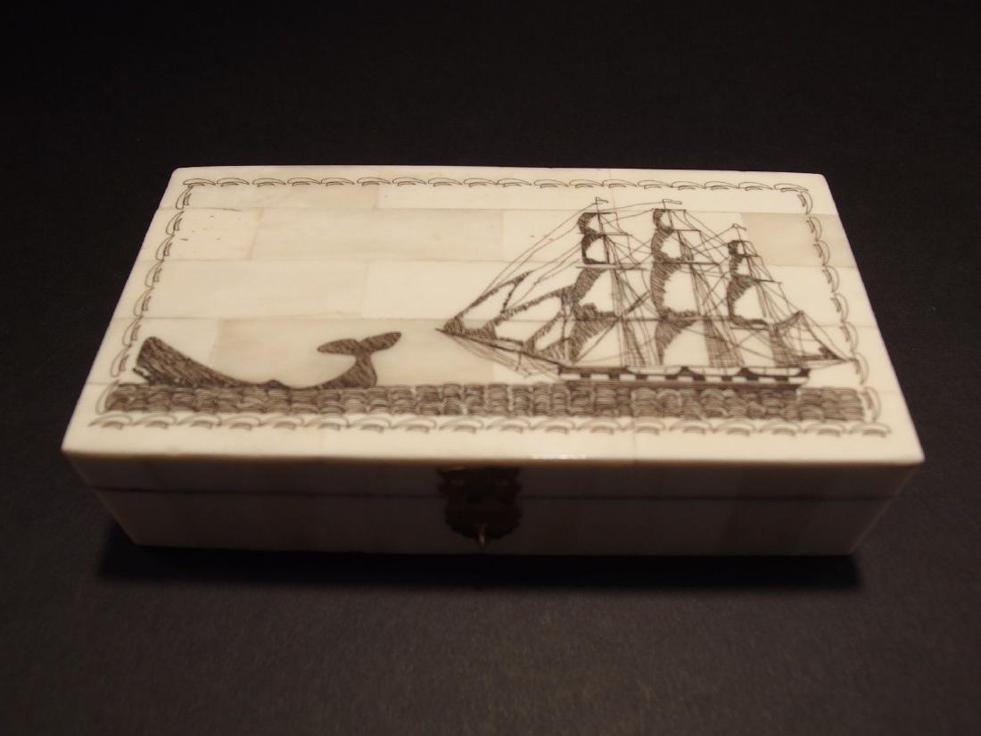 Folk Whale Chase Scrimshaw Bone & Wood Trinket Box - 5