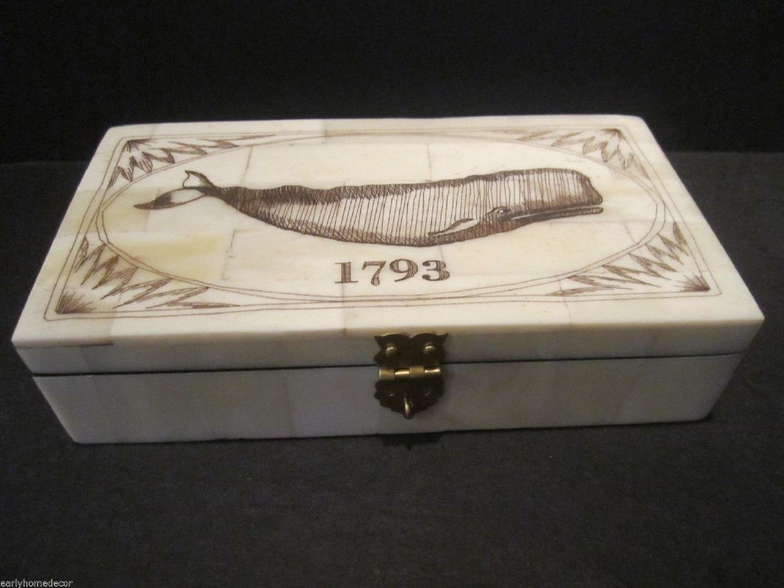 Folk Art Whale Scrimshaw Bone & Wood Trinket Box 1793