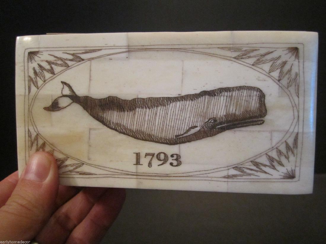 Folk Art Whale Scrimshaw Bone & Wood Trinket Box 1793 - 2