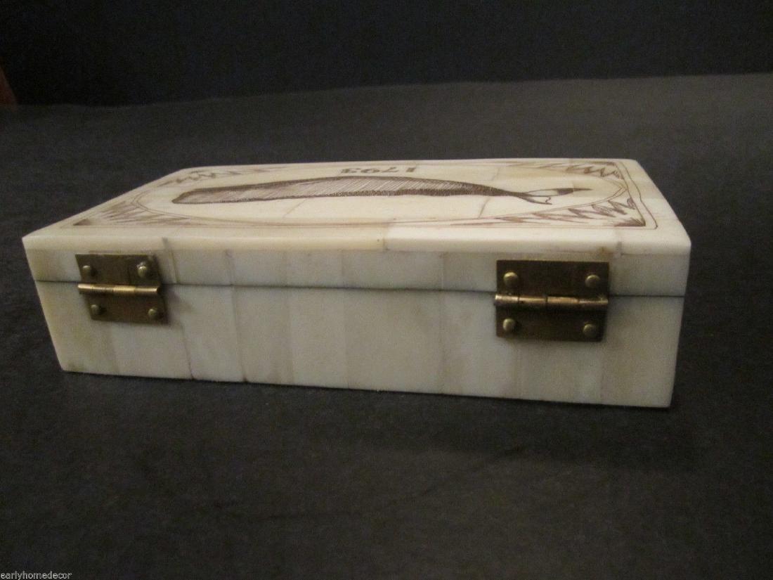 Folk Art Whale Scrimshaw Bone & Wood Trinket Box 1793 - 6