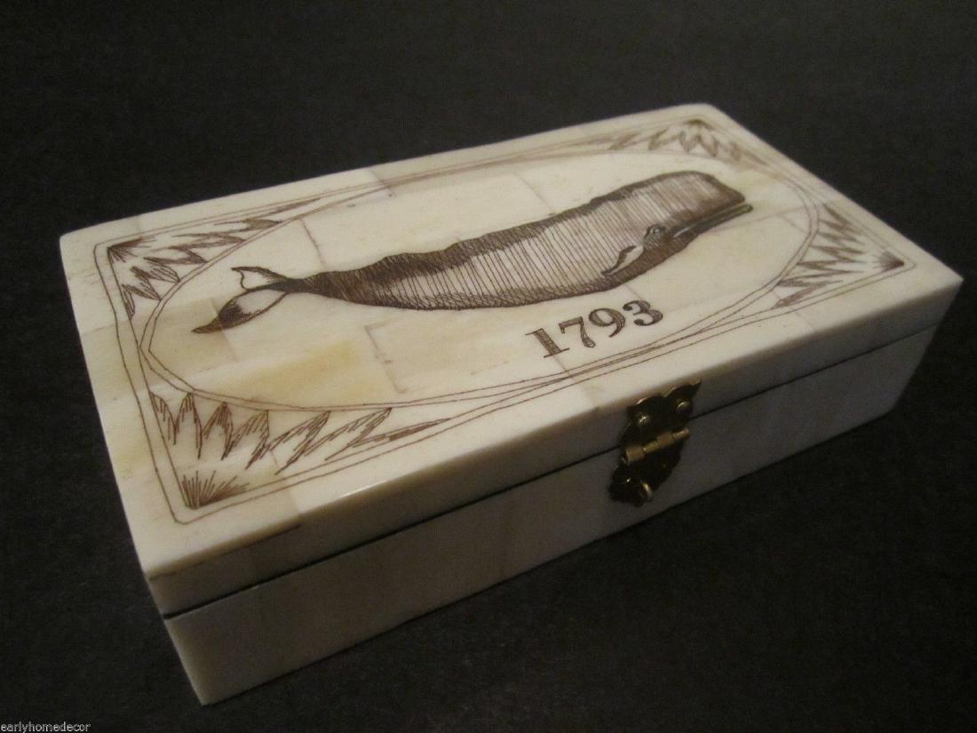 Folk Art Whale Scrimshaw Bone & Wood Trinket Box 1793 - 8