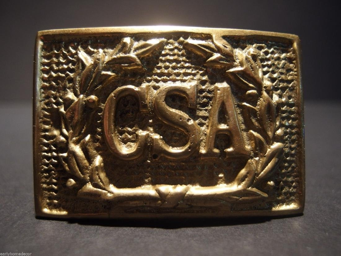Civil War Confederate CSA Belt Buckle Plate SOLID Brass