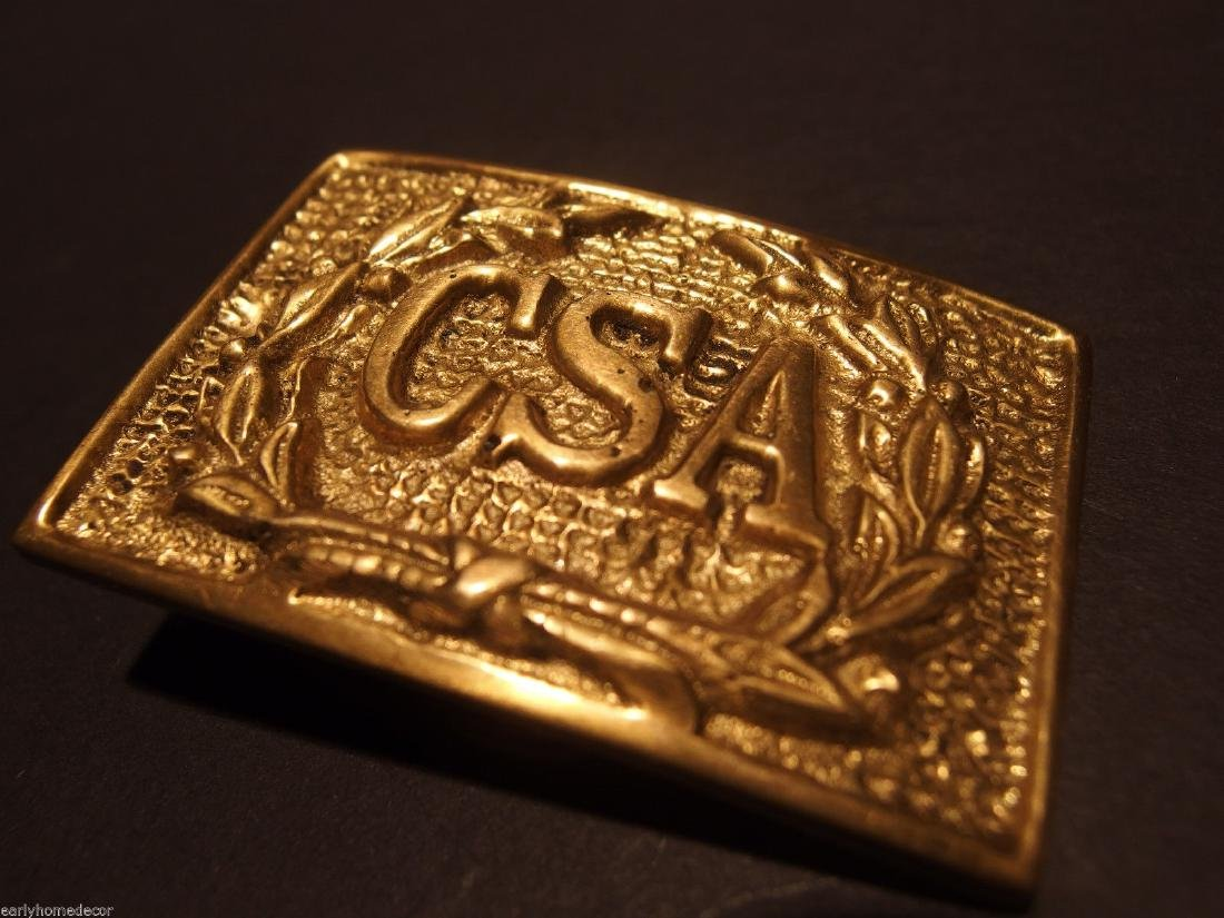 Civil War Confederate CSA Belt Buckle Plate SOLID Brass - 6