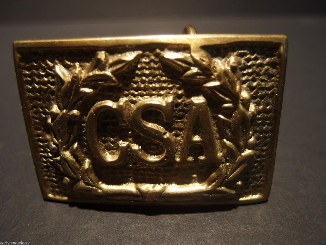 Civil War Confederate CSA Belt Buckle Plate SOLID Brass - 7