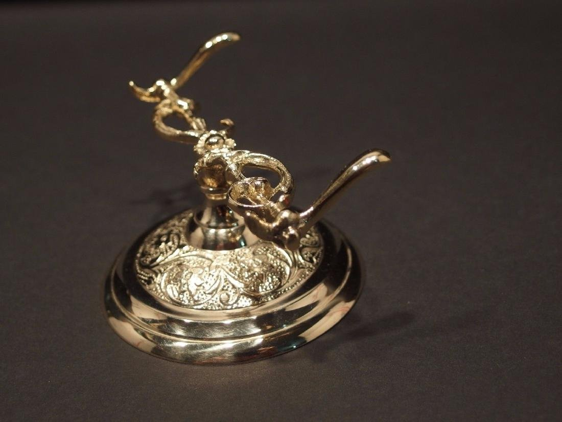 Ornate Golden Brass Pen Holder Desk Stand - 5