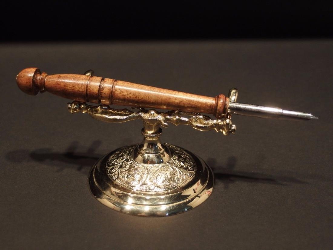 Ornate Golden Brass Pen Holder Desk Stand - 7