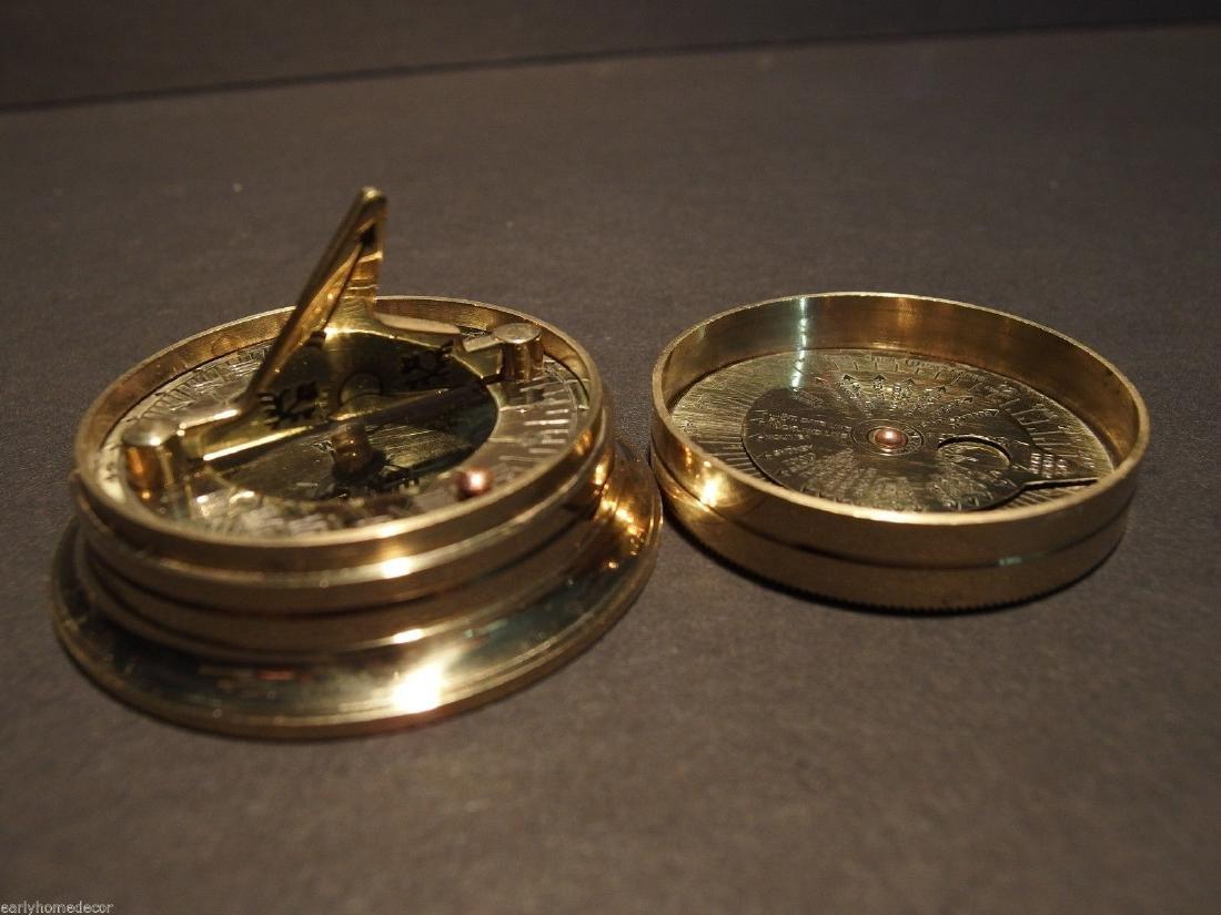 Brass Wing Sundial w Lid Pocket Watch Compass