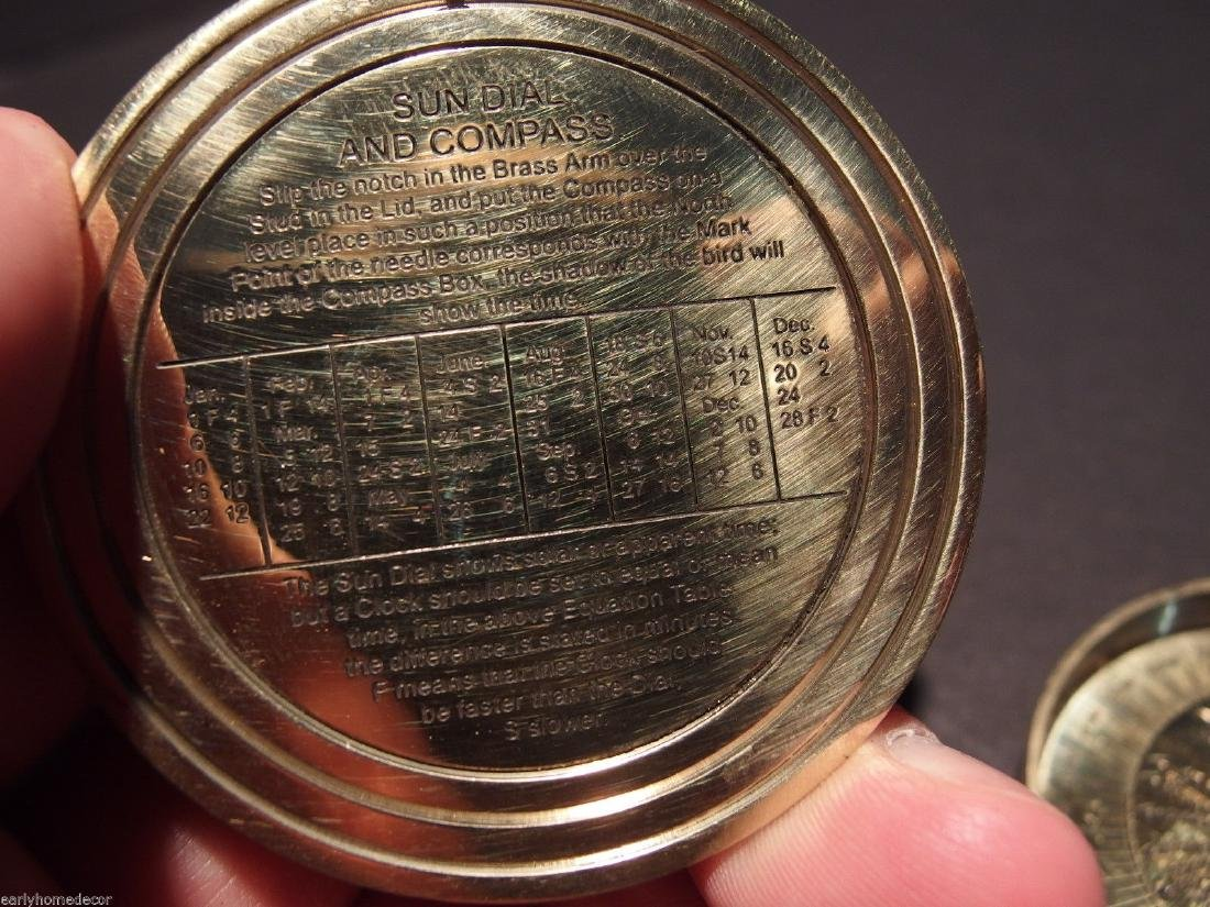 Brass Wing Sundial w Lid Pocket Watch Compass - 6