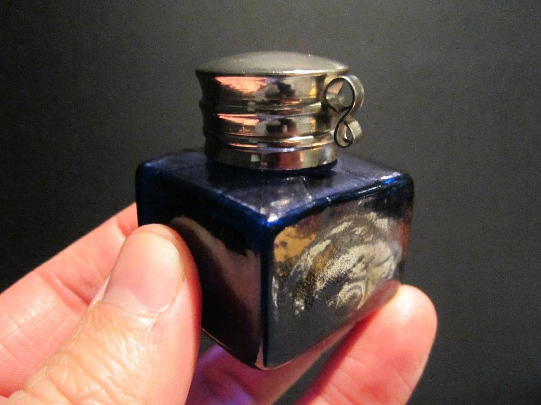 Thick Glass Square Cobalt Blue Inkwell Ink pot Bottle