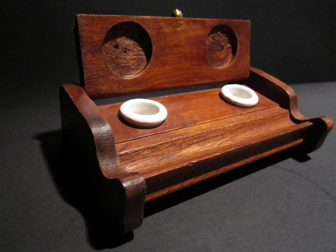 Wood Writing Double Inkwell Box Ink Pot Porcelain