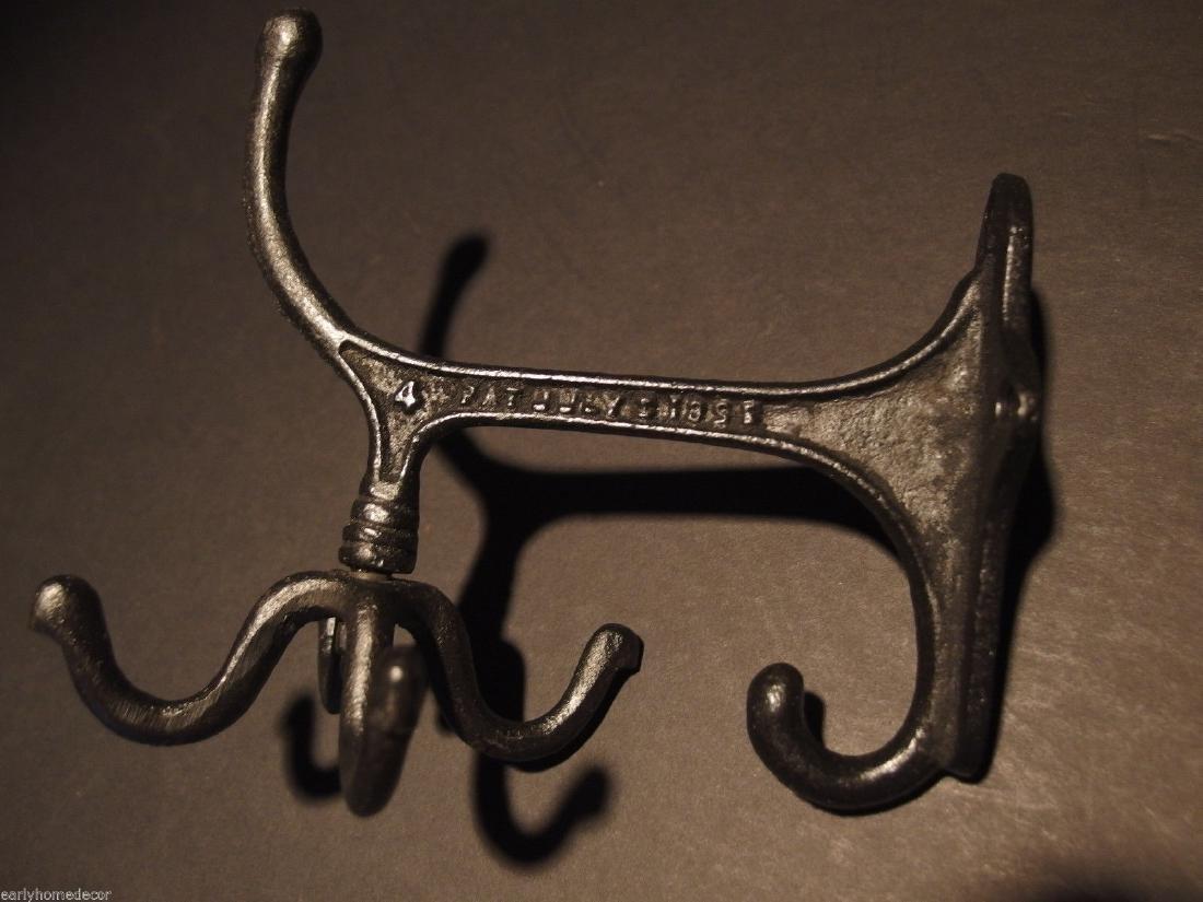 Black Cast Iron Hook Rotating Bracket Spinning Coat - 2