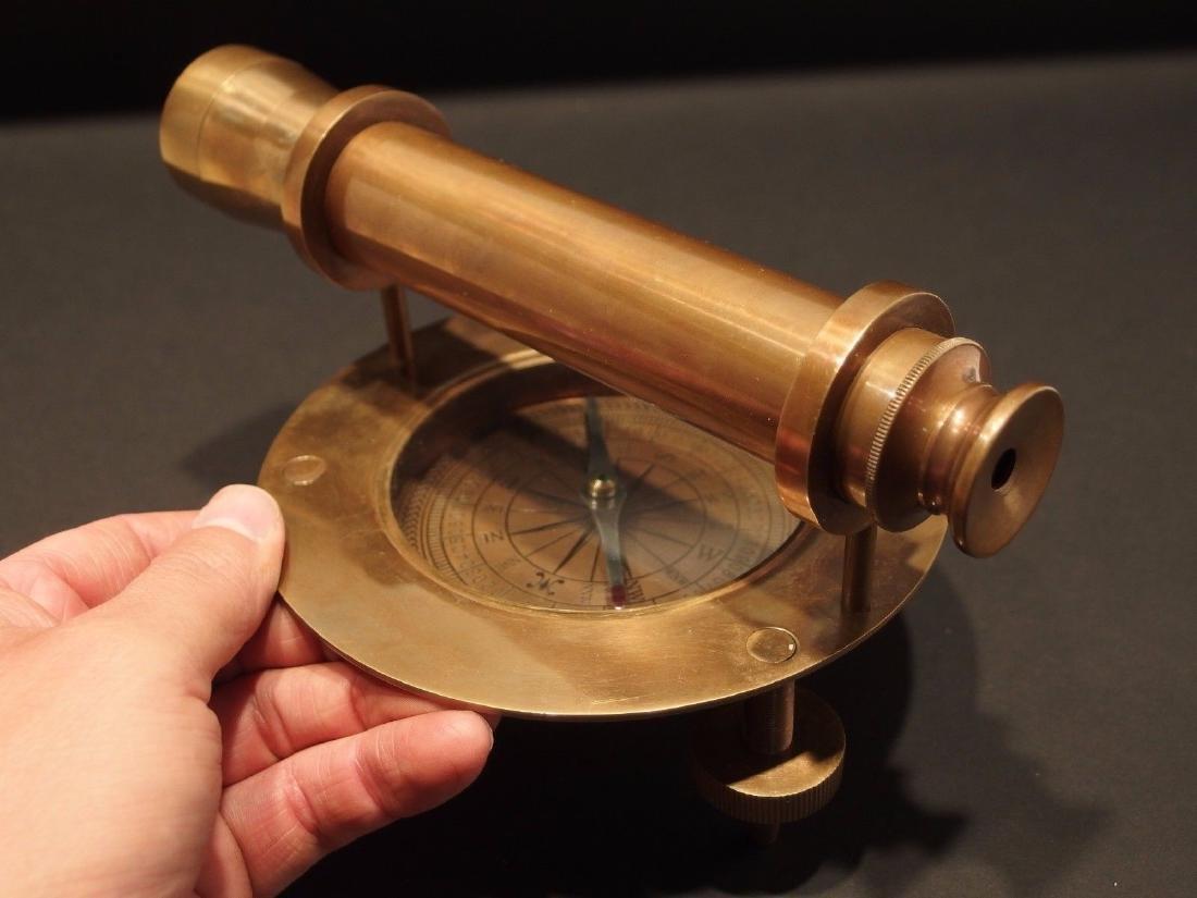 Brass Surveyors Compass Telescope Instrument - 2