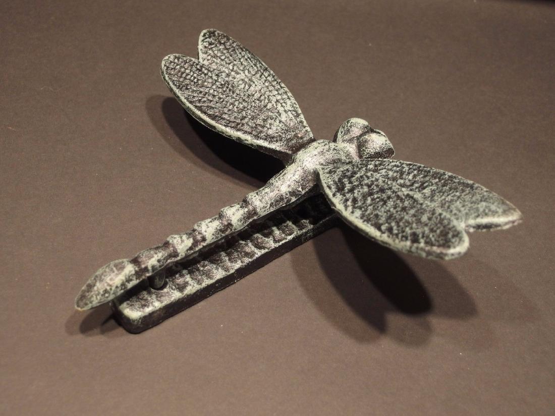 Cast Iron Verdigris Green Dragonfly Door Knocker - 6