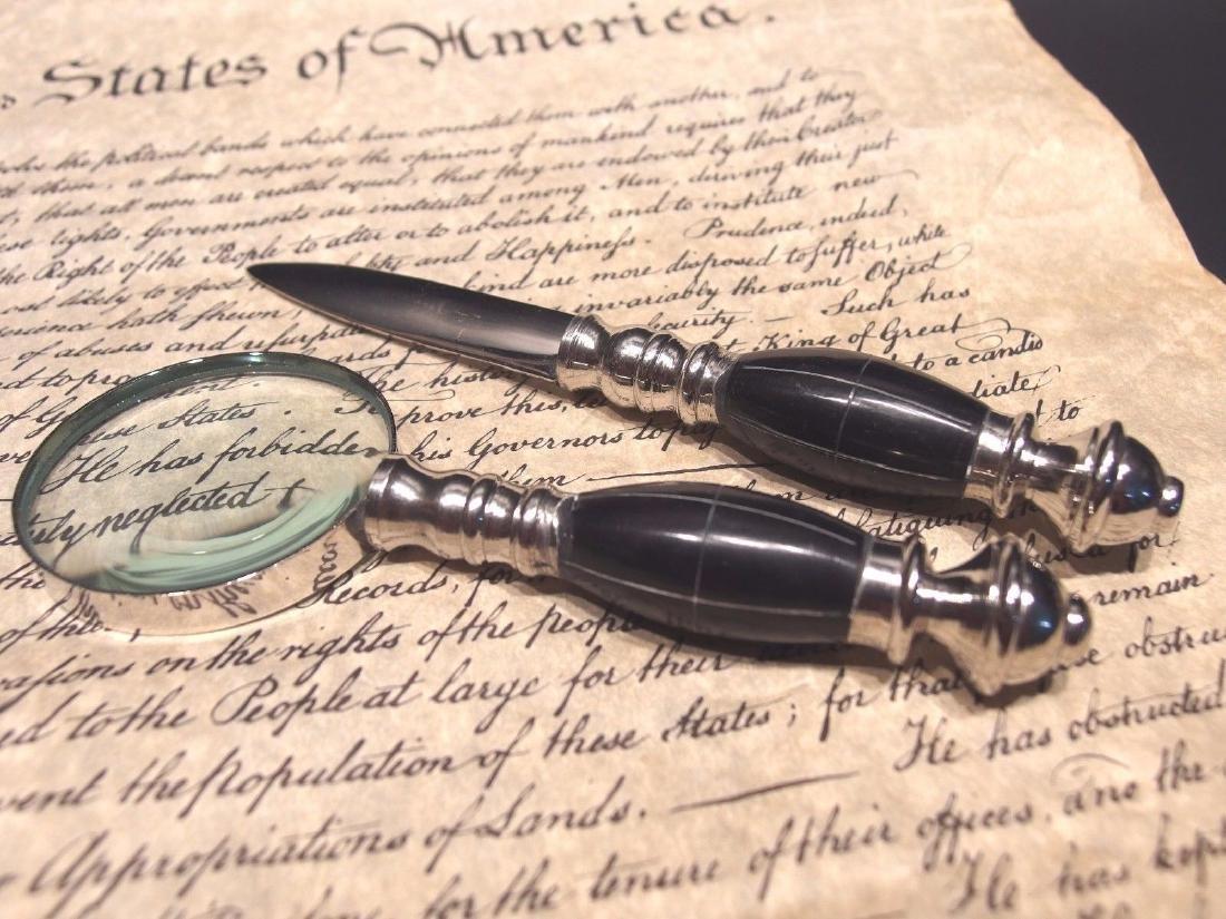 Desk Magnifying Glass Letter Opener Set w Horn Handles