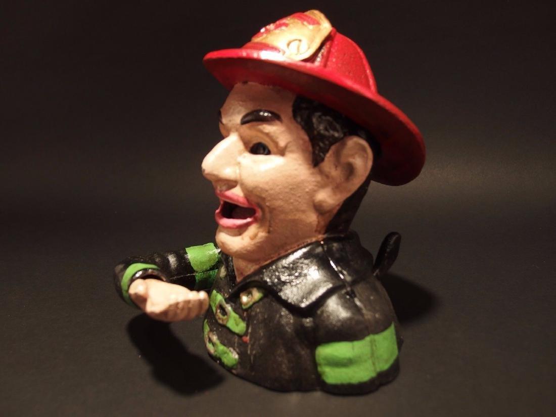 Fireman Fire Fighter Cast Iron Mechanical Coin Bank - 2