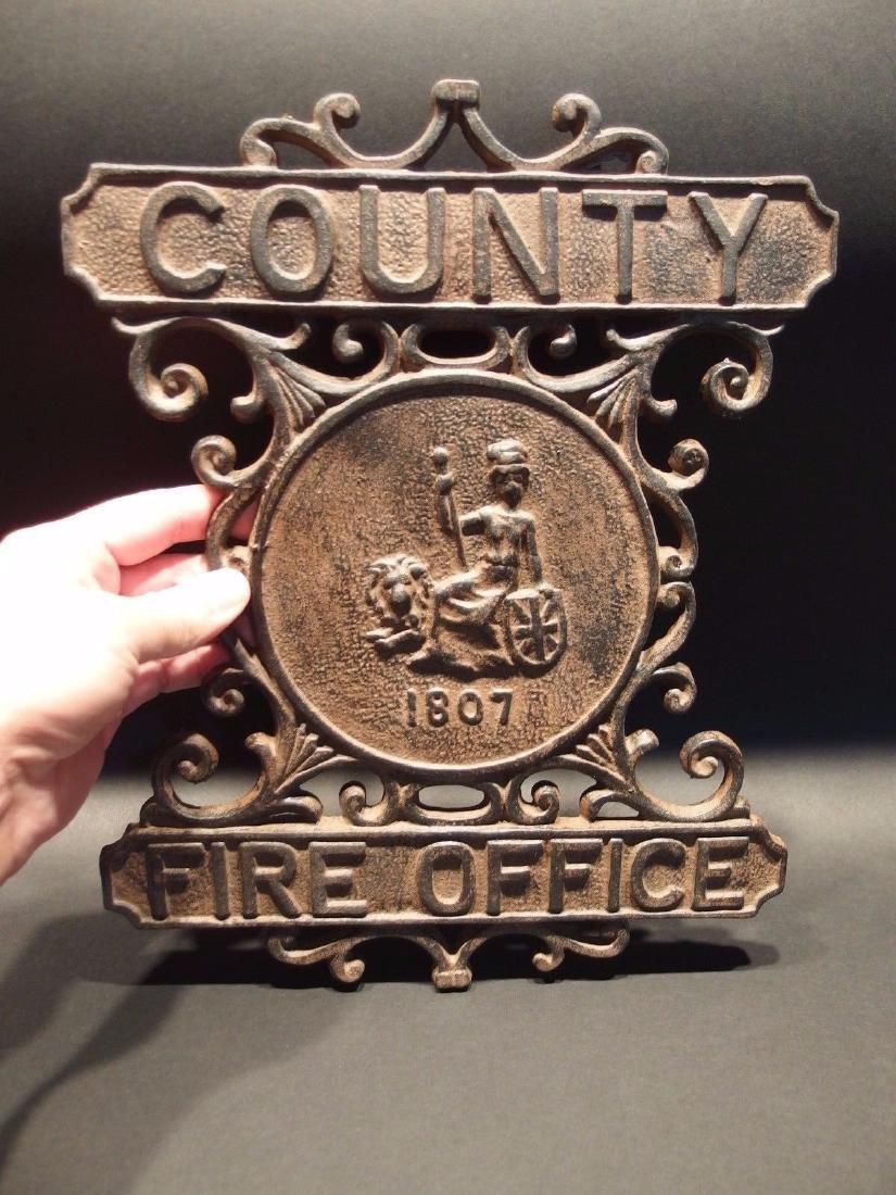 Cast Iron County Fire Office Sign 1807 Fireman