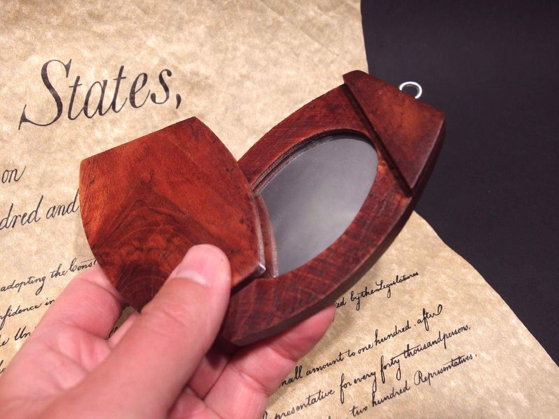 Portable Wood Pivoting Hand Mirror Looking Glass