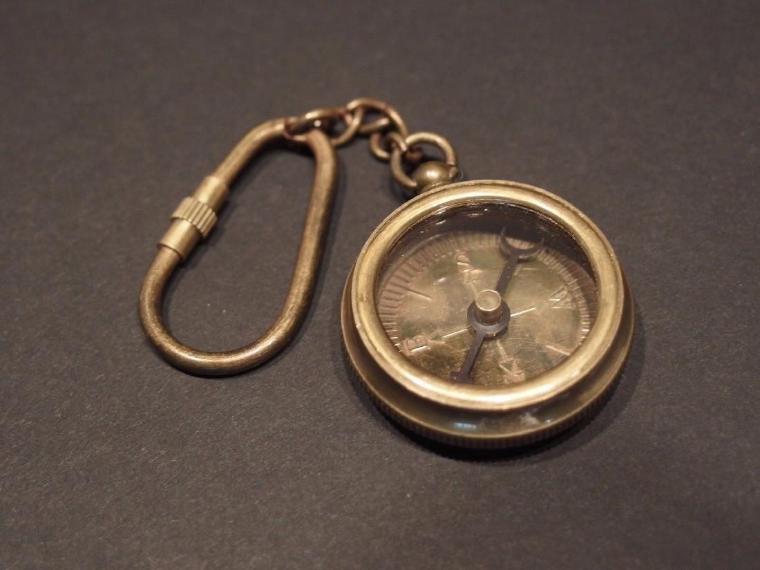 Solid Brass Compass Keychain