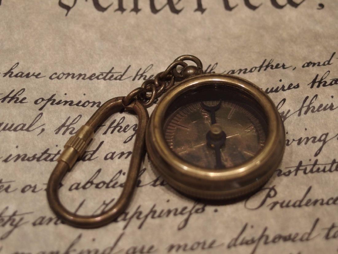Solid Brass Compass Keychain - 5