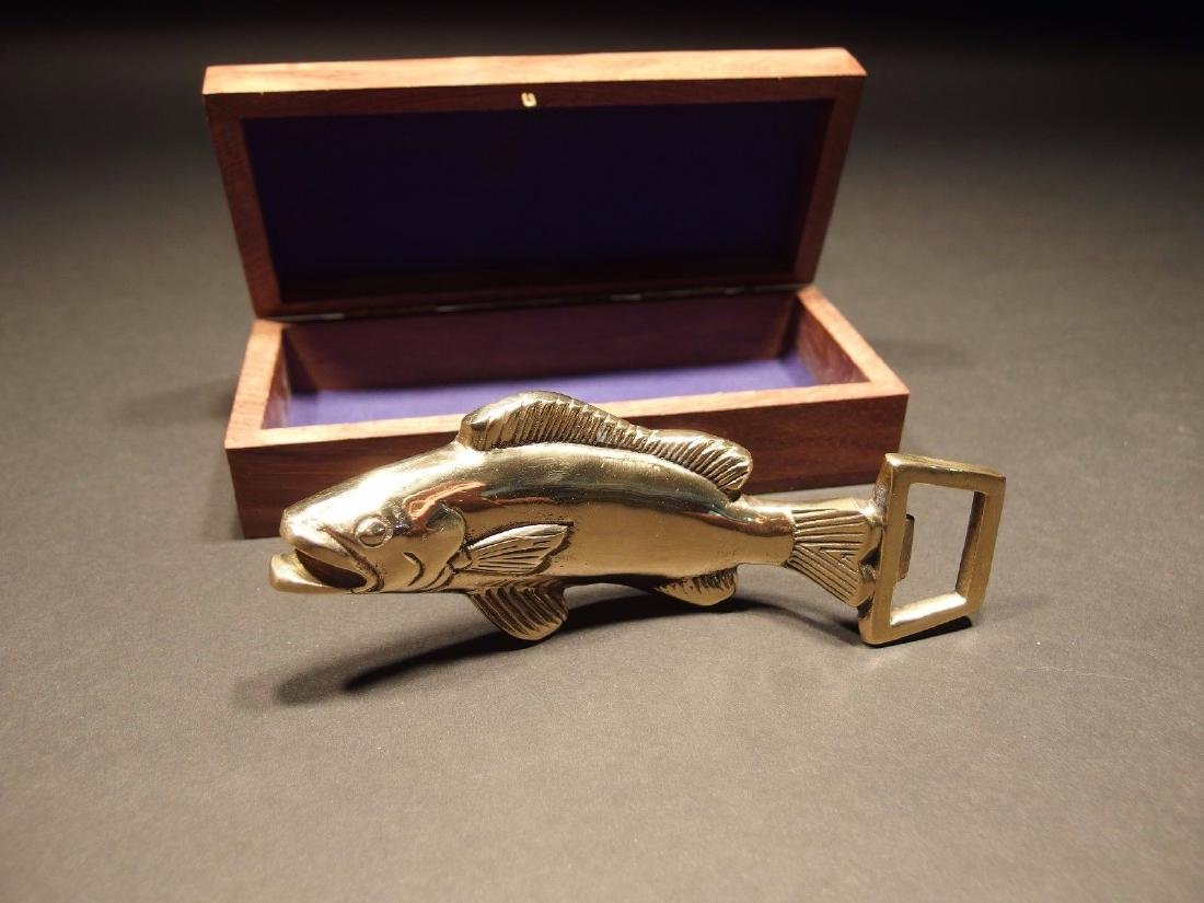Solid Brass Fish Fishing Bottle Opener w Wood Gift Box - 4