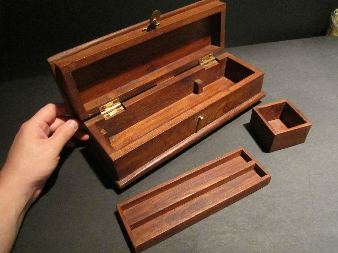 Hardwood Inkwell Writing Box Pen Desk Set w Inkwell & - 2