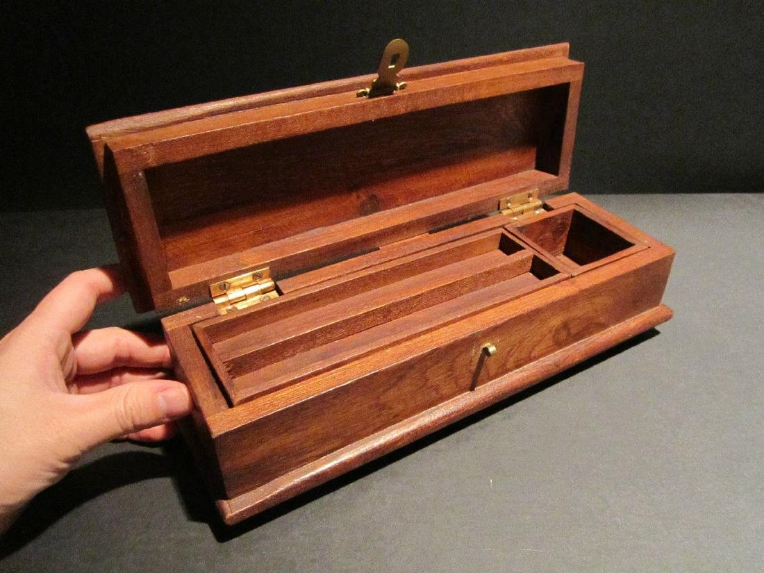 Hardwood Inkwell Writing Box Pen Desk Set w Inkwell & - 5