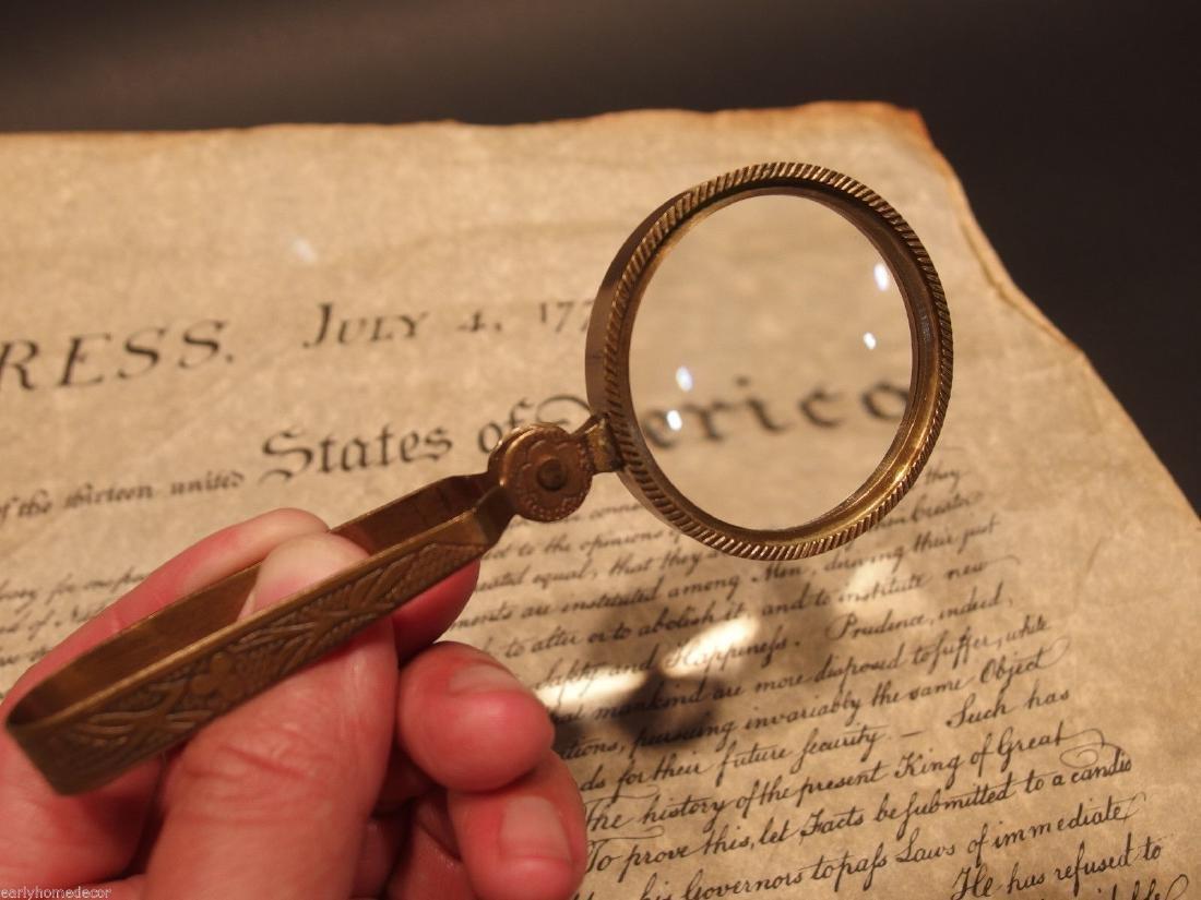 Brass Pocket Folding Optical Glass Magnifying Lens - 6