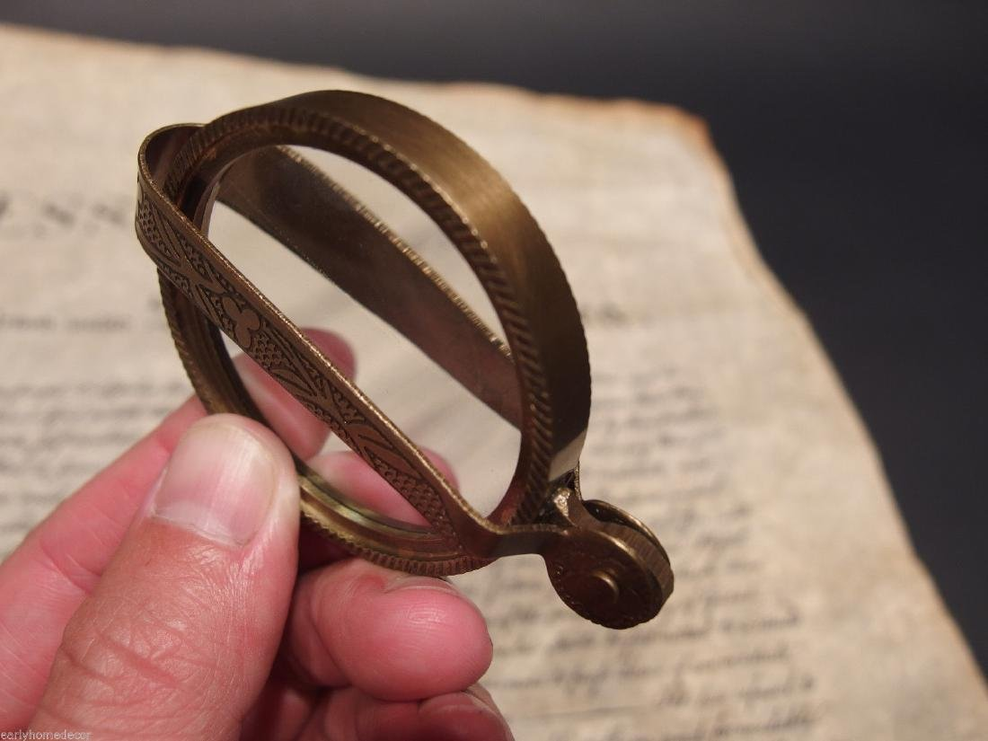 Brass Pocket Folding Optical Glass Magnifying Lens - 9