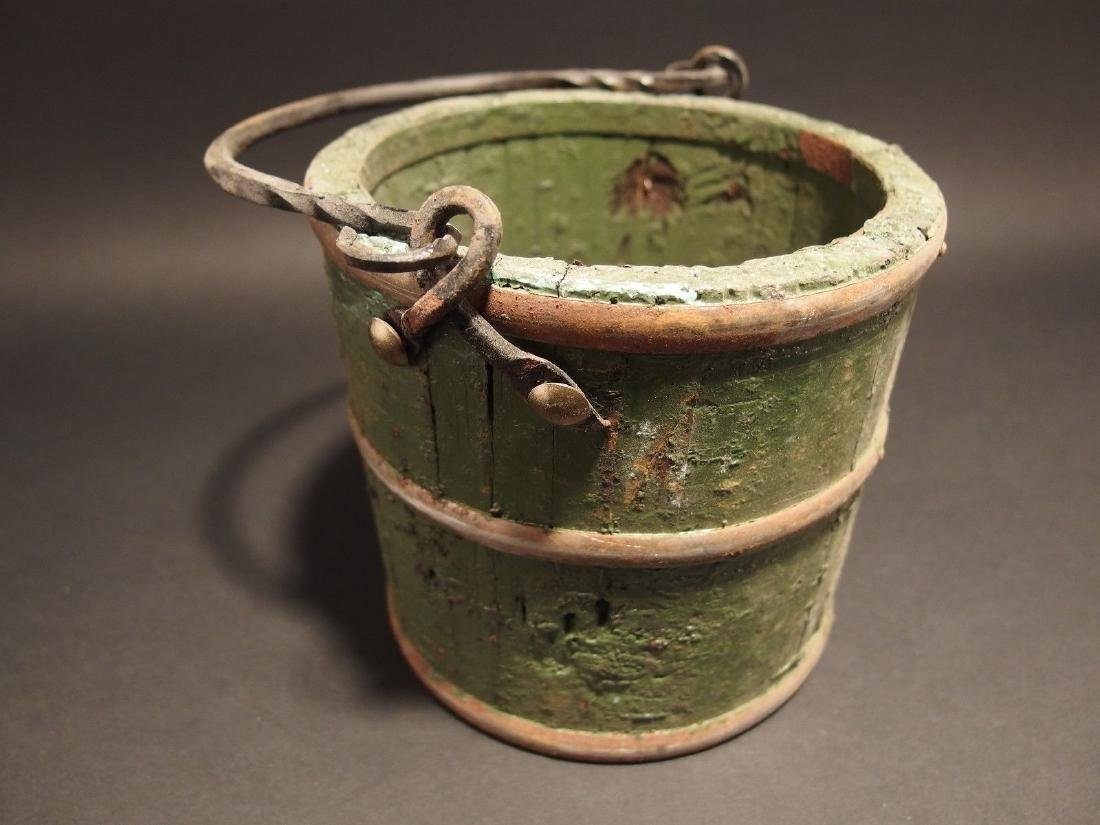 Wood Berry Bucket Iron Handle old Green Paint
