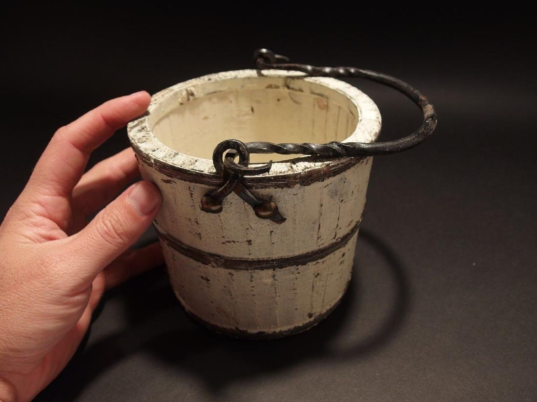 Wood Berry Bucket Iron Handle old White Paint