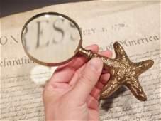 Brass Starfish Magnifying Glass Desk Hand Lens