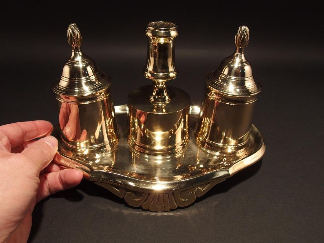 Brass Double Inkwell Stand Set w Candle Holder