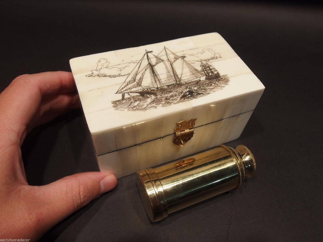 Ship Etched Bone & Wood Trinket Box w Telescope