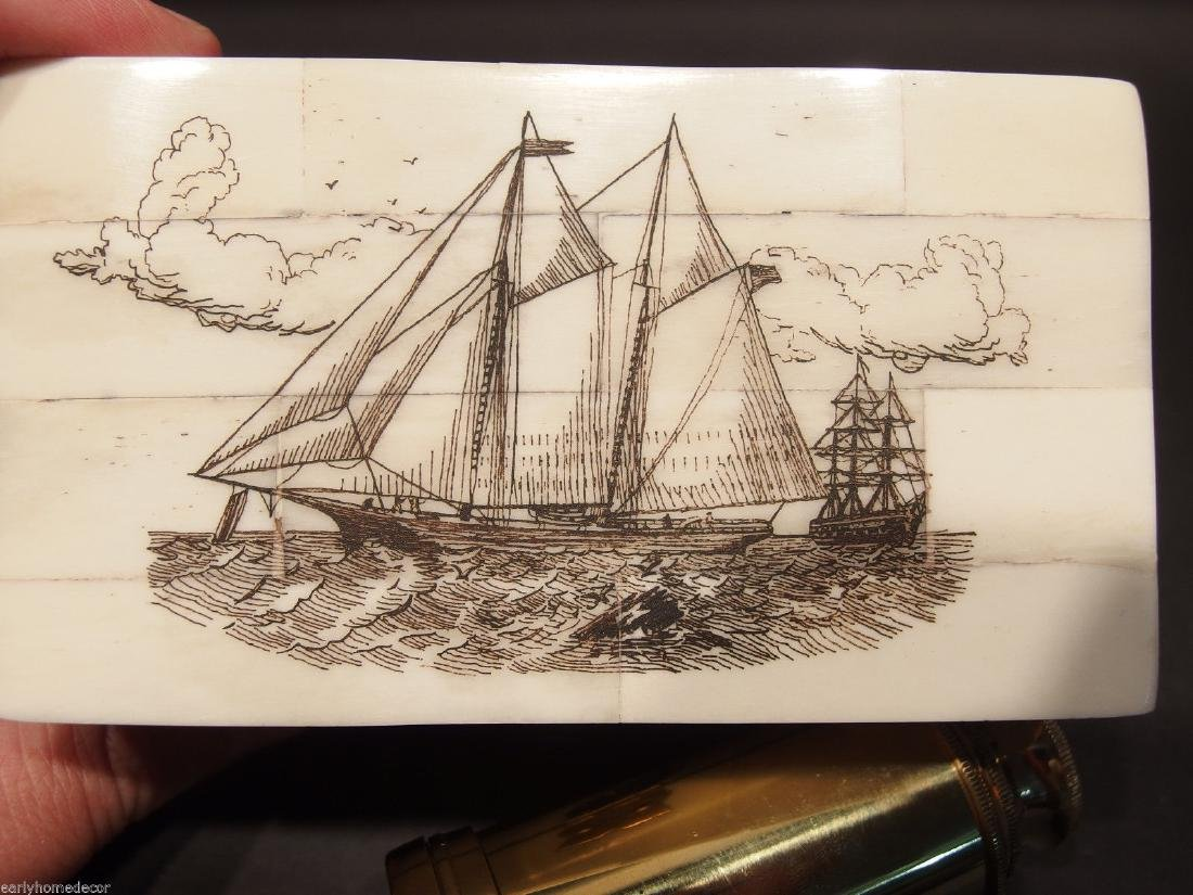Ship Etched Bone & Wood Trinket Box w Telescope - 3