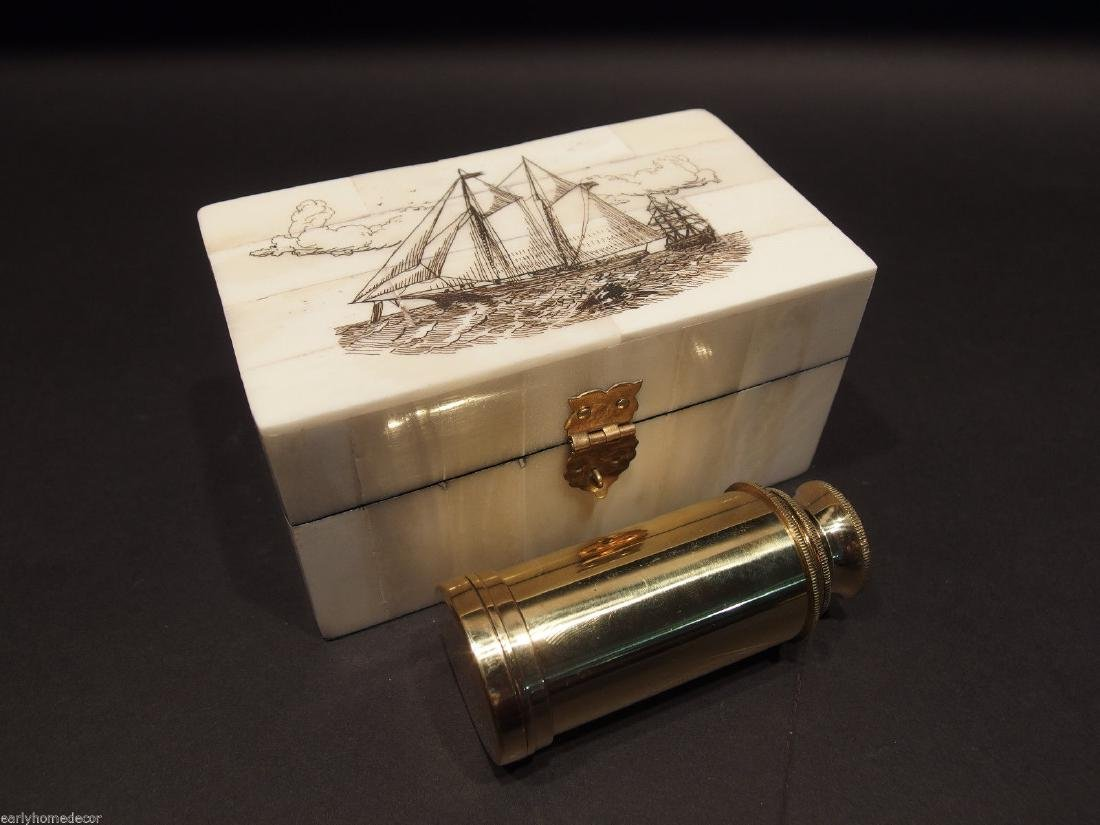 Ship Etched Bone & Wood Trinket Box w Telescope - 4