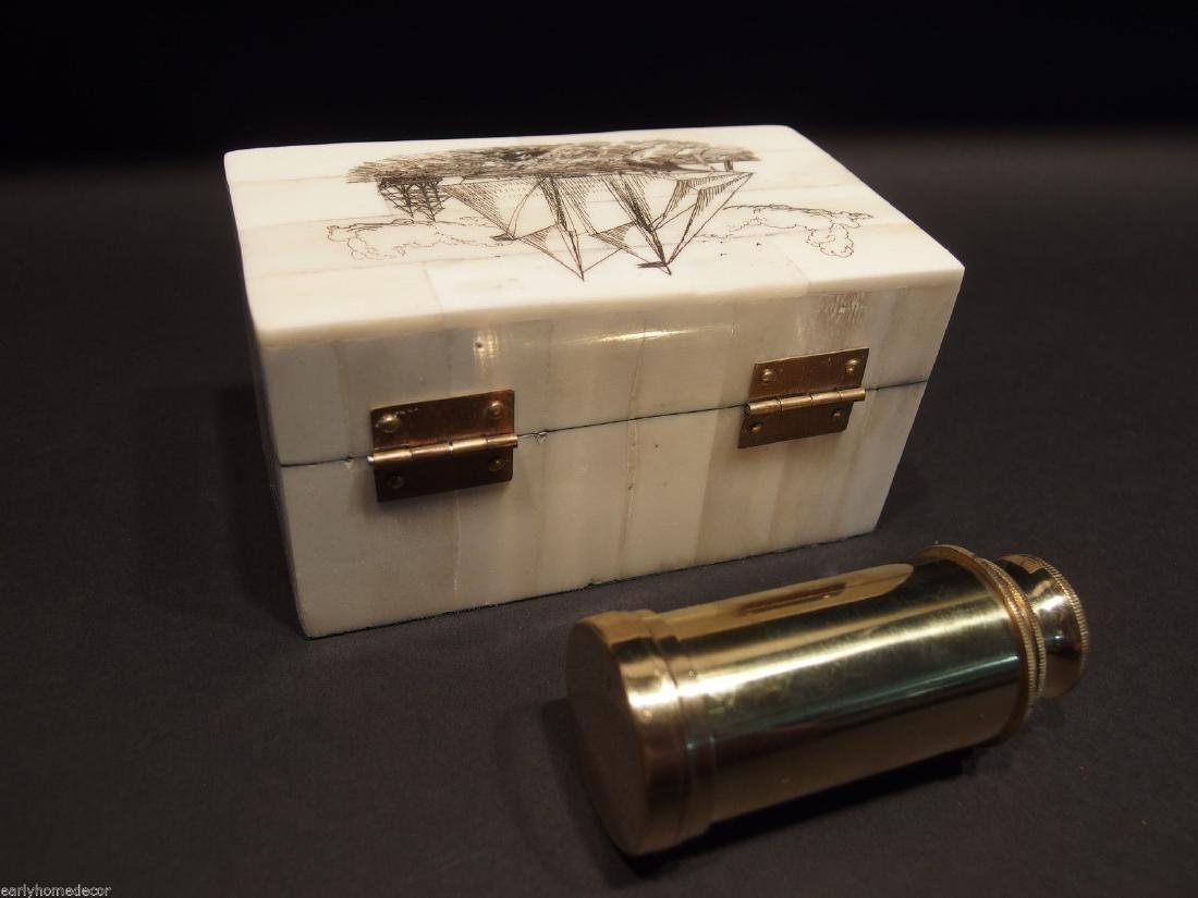 Ship Etched Bone & Wood Trinket Box w Telescope - 5
