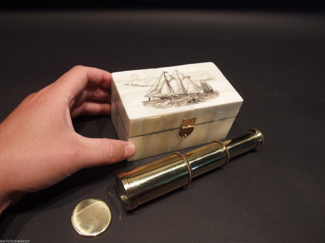 Ship Etched Bone & Wood Trinket Box w Telescope - 7
