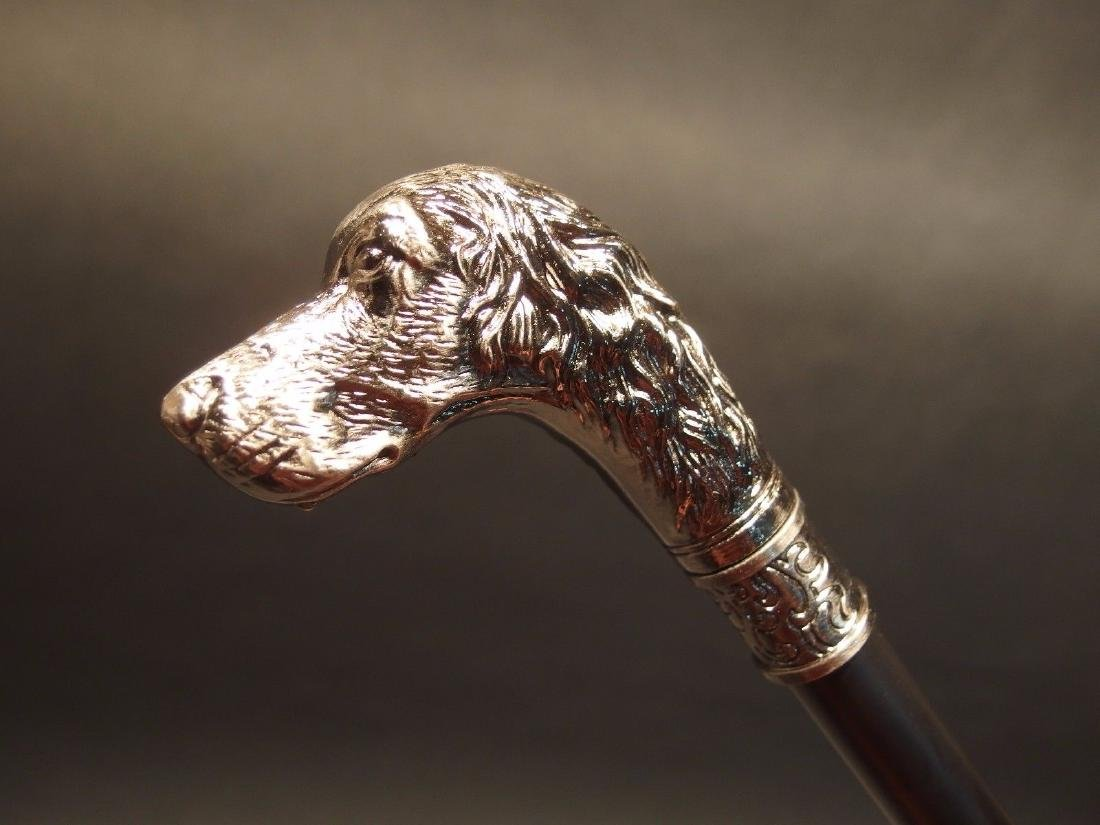 Dog Head Handle Metal Walking Stick Cane - 9