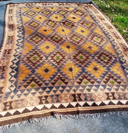 Antique Afghan Kilim Rug 10x6.3