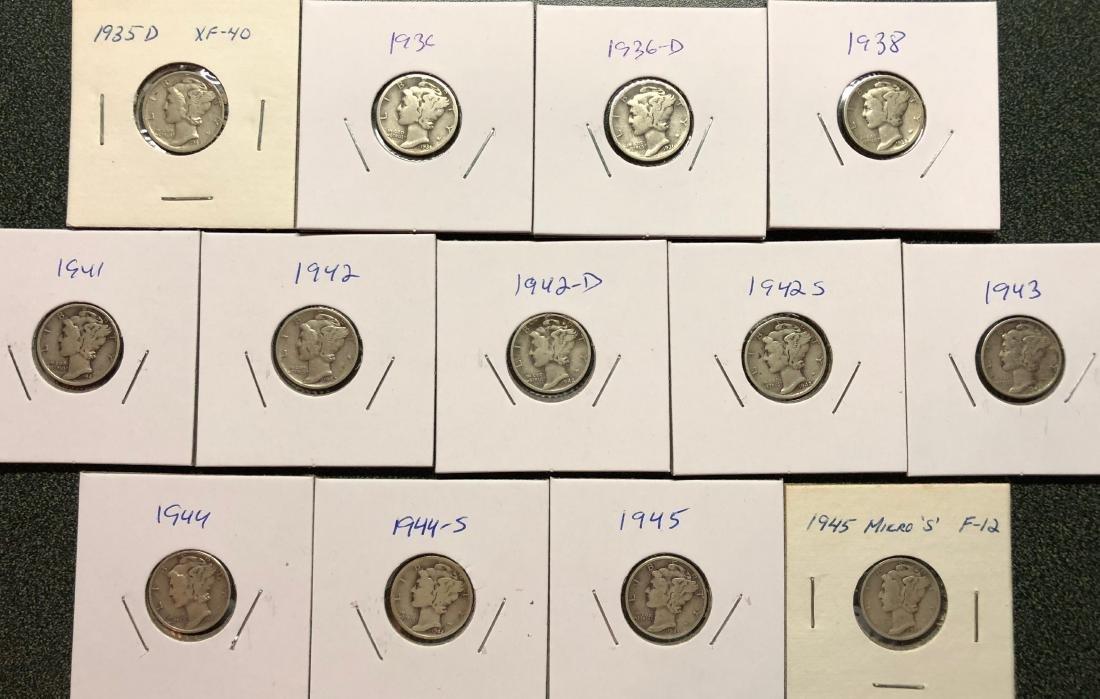 13 Mercury Dimes