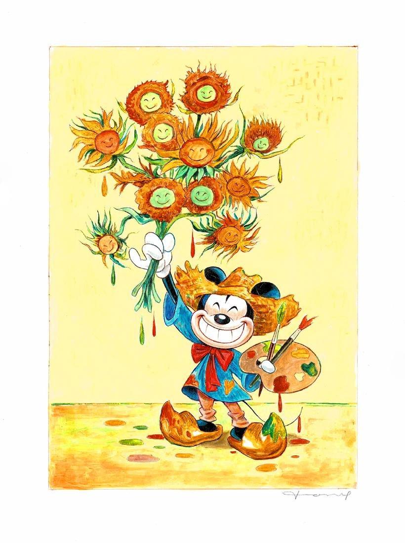 Original Painting - Mickey Mouse: Van Gogh Sunflowers