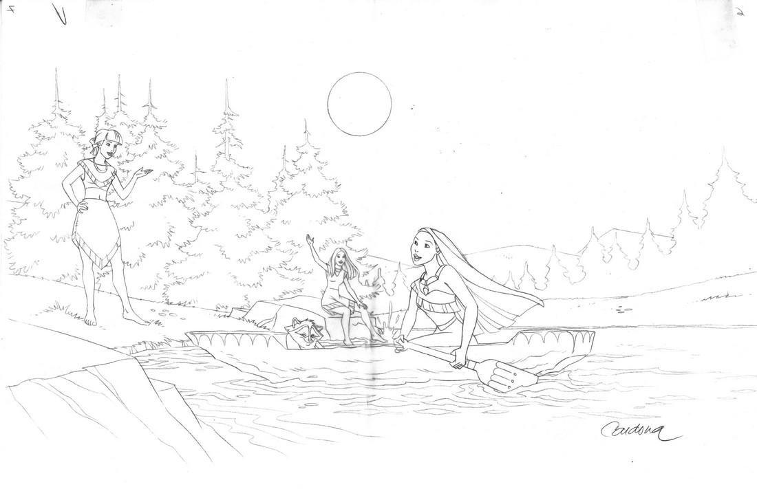 Pocahontas & Meeko Original Production Drawing Cardona