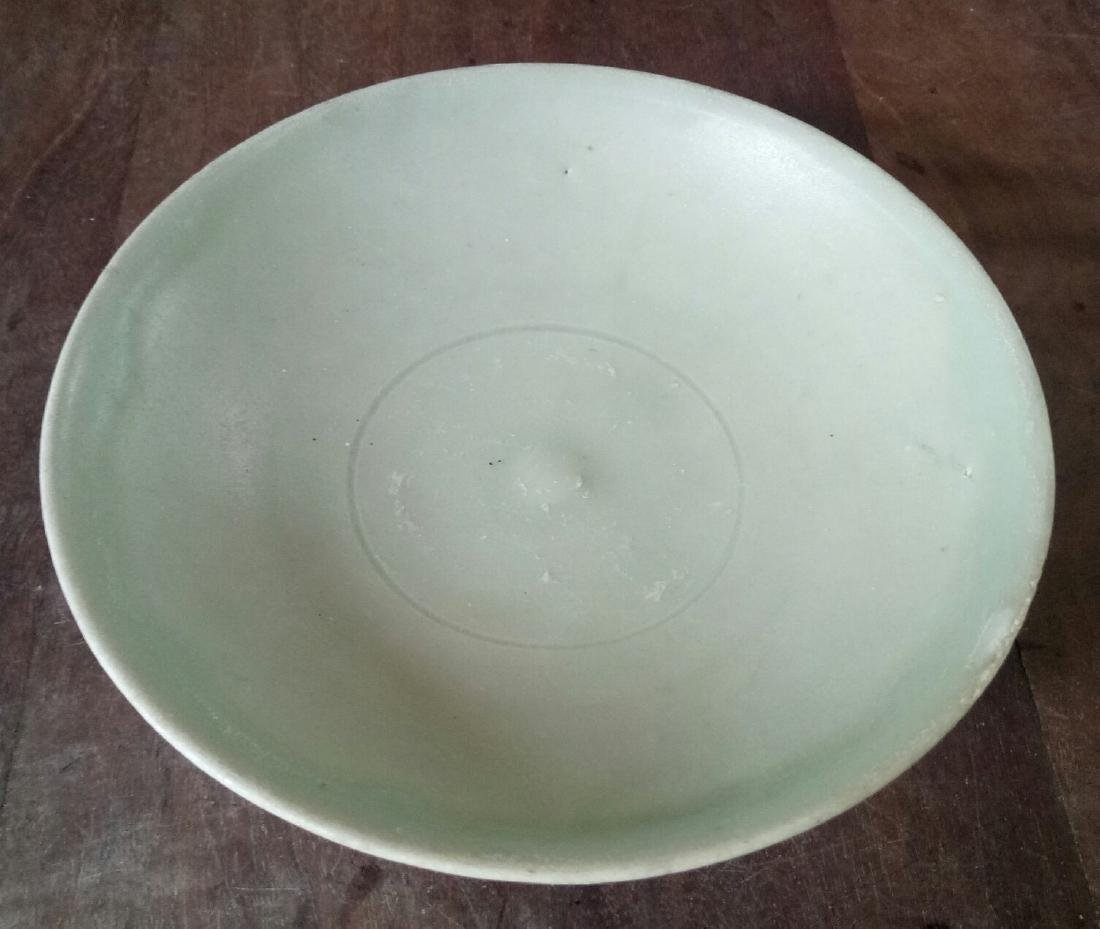 Chinese Yuan Dynasty Celadon Green Dish With Lotus