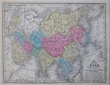 1852 Mitchell Antique Map of Asia