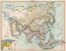 Bartholomew: Antique Map of Asia, Political & Religious