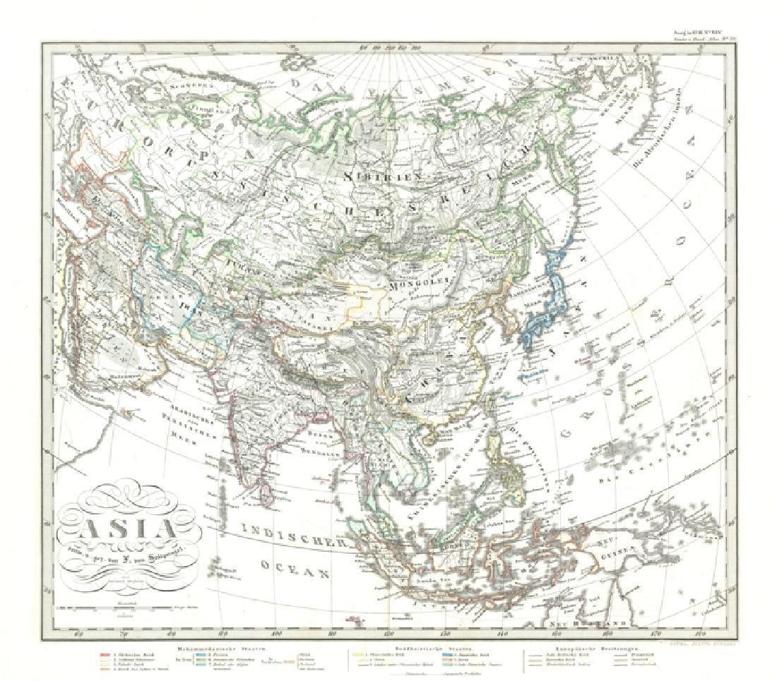 Stieler: Antique Map of Asia, 1870